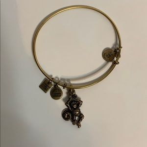 Alex and Ani monkey bracelet in gold/brass